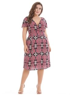 Sexy Short Sleeve Printing Cotton Casual Style Plus Size Dress