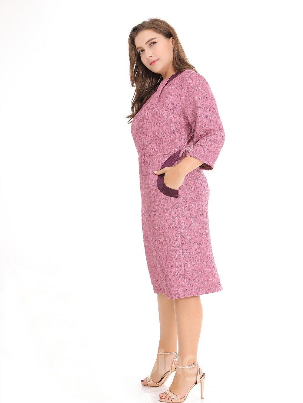 Slim Model Half Sleeve Nylon A-Line Silhouette Plus Size Dress