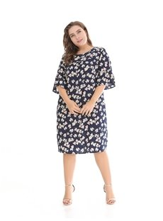Printing Loose Model Casual Style Soft Cotton Plus Size Dress