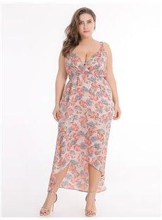 Sleeveless Polyester Floral Pattern Asymmetrical Plus Size Dress