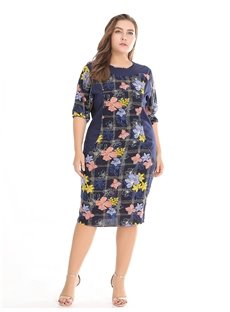 Casual Style Floral Pattern Cotton Plus Size Dress