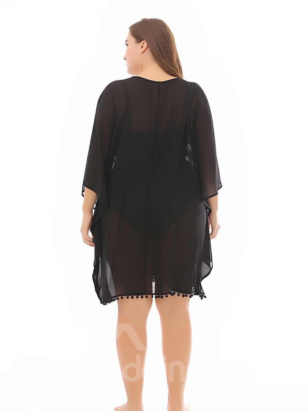 Beach Silhouette Three-Quarter-Sleeve Polyester Knee-Length Plus Size Dress