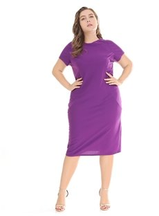 Urban Casual Style Pure Color Short Sleeve A-Line Plus Size Dress