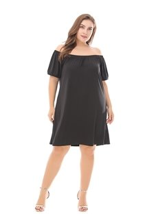 Soft Cotton Short Sleeve Knee-Length Pure Color Plus Size Dress