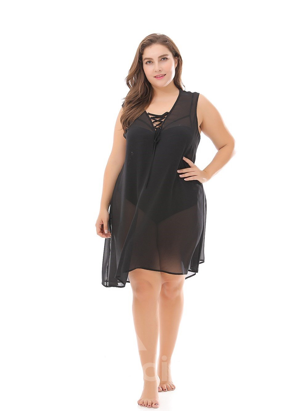Bikini Smock Sexy Chiffon Beach Sleeveless Plus Size Dress