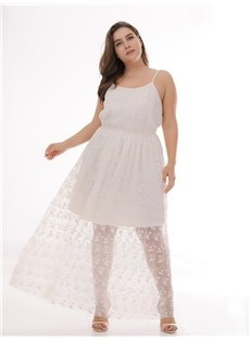Casual Style Lace Cotton Sleeveless Ankle-Length Plus Size Dress