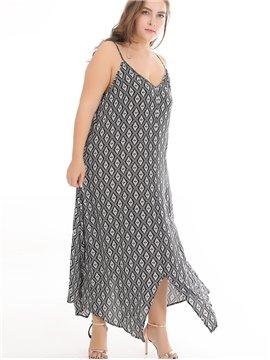 Printing Ankle-Length Sleeveless Cotton Plus Size Dress