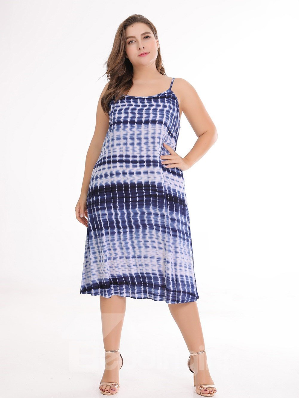 Casual Style Printing Cotton Sleeveless A-Line Plus Size Dress
