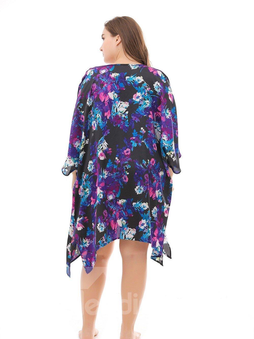 Beach Silhouette Polyester Three-Quarter-Sleeve Plus Size Dress