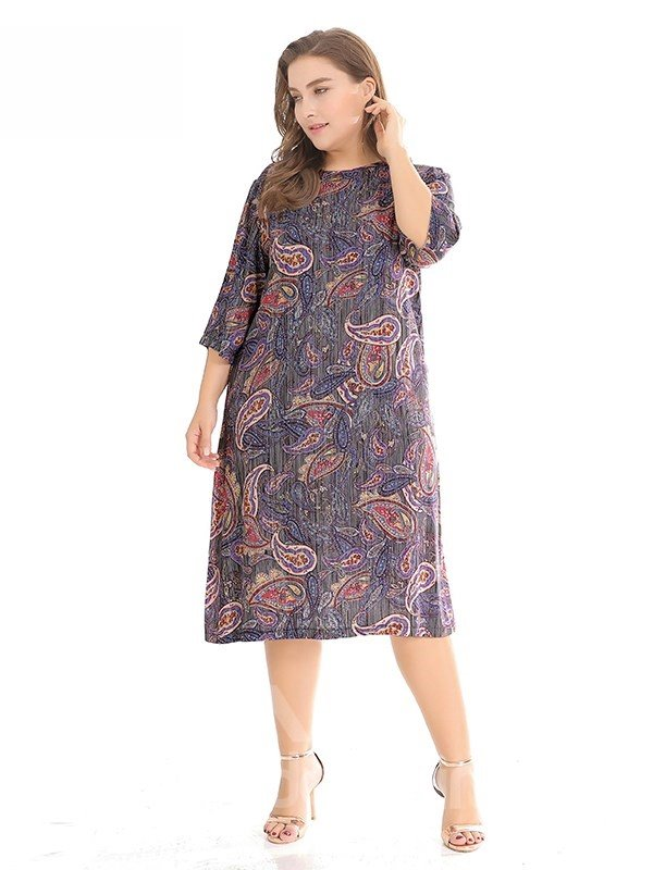 Printing Loose Model Casual Style Cotton Plus Size Dress
