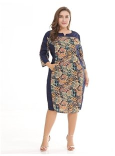 Russia Three-Quarter-Sleeve Printing Knee-Length Plus Size Dress