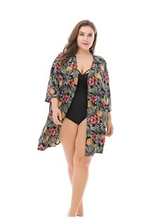 Floral Casual Style Beach Chiffon Smock Cardigan