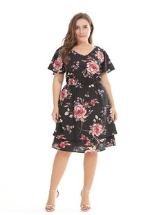 Printing High-Waist Casual Style Chiffon Plus Size Dress