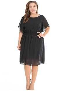 Chiffon Polyester Pure Color Casual Style Plus Size Dress