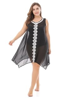 Ultra-Thin Chiffon Sun Block Casual Sleeveless Sexy Plus Size Dress