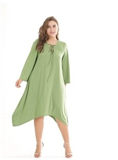 Beach Dress Pure Color Polyester Plus Size Dress