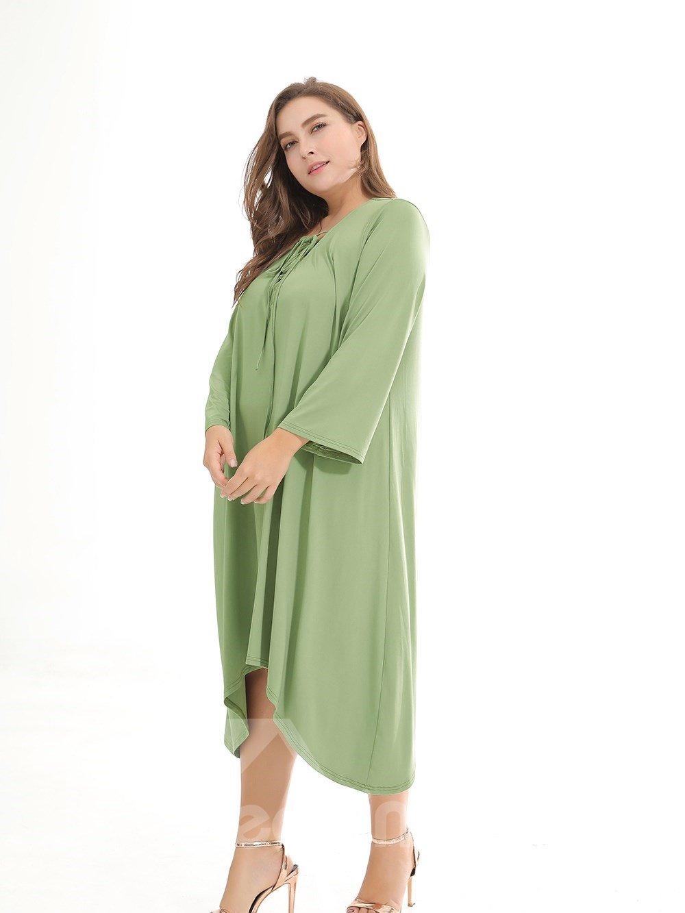 Beach Dress Pure Color Polyester Plus Size Dress
