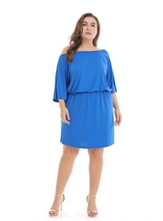 Polyester Off-The-Shoulder Pure Color Urban Casual Style Plus Size Dress