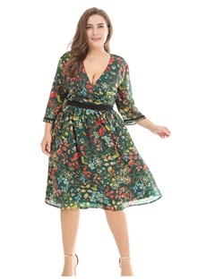 Sexy Polyester Printing Casual Style Plus Size Dress