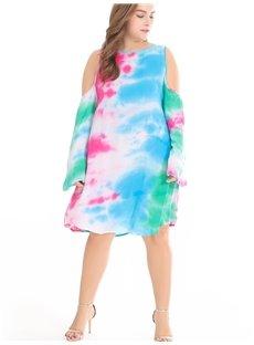 Off-The-Shoulder Beach Dress Cotton Colorful Plus Size Dress