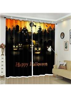 3D Creative Pumpkin Halloween Scene Polyester Custom Curtain for Kids Room/Living Room