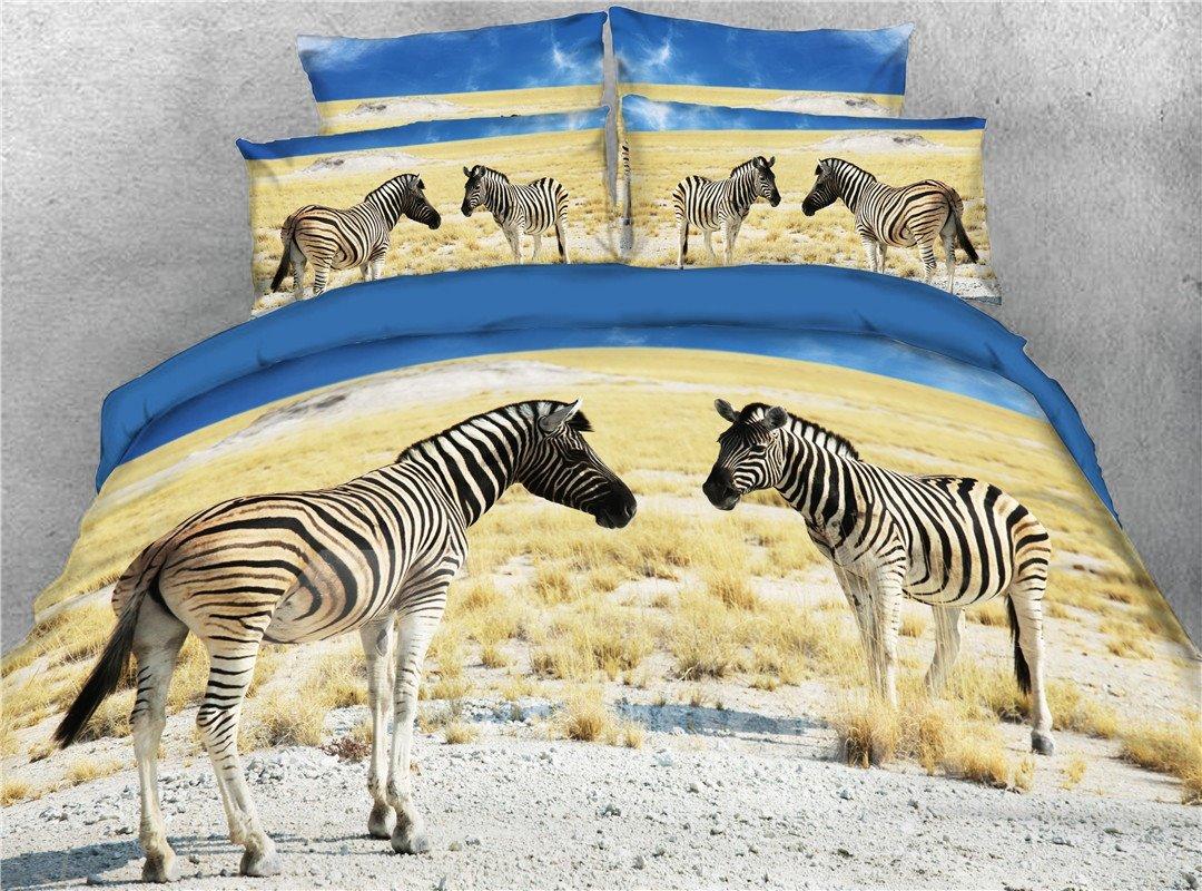 3D Two Zebra on the Gobi Digital Printed 4-Piece Bedding Sets/Duvet Covers
