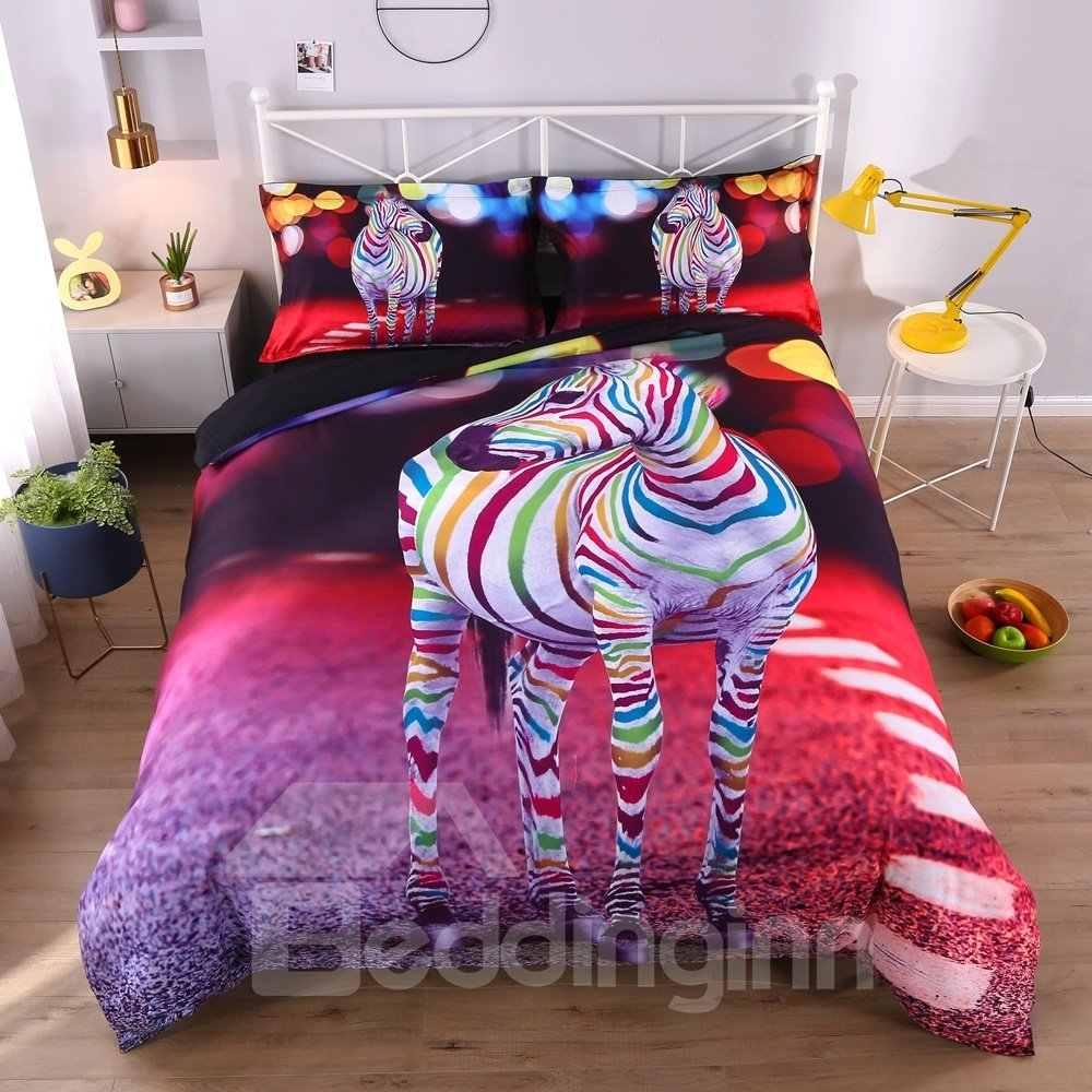 3D Colorful Striped Zebra Printed 4-Piece Bedding Sets/Duvet Covers