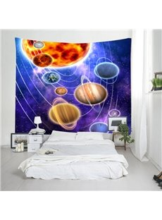 3D Solar System and Planets Digital Printing Decorative Hanging Wall Tapestry
