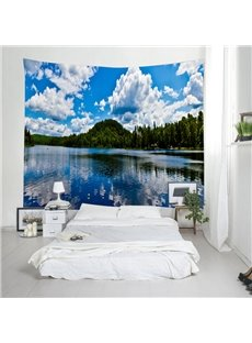 3D Peaceful Lake and Blue Sky with White Clouds Printing Hanging Wall Tapestry