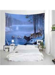 3D Wolves and Lake Snow Digital Printing Decorative Hanging Wall Tapestry