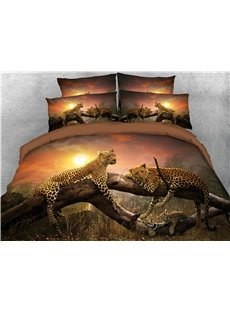 3D_Leopard_Family_Relaxing_on_the_Sunset_Digital_Printed_4Piece_Bedding_SetsDuvet_Covers