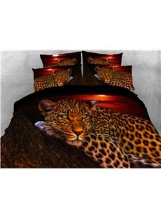 Wild_Leopard_Lying_on_the_Trunk_Digital_Printed_4Piece_3D_Bedding_SetsDuvet_Covers