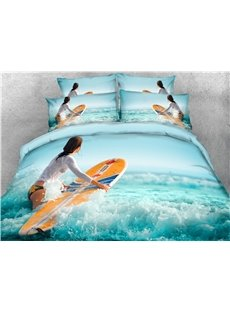 3D Surfboard and Water Green Digital Printed Cotton 4-Piece Bedding Sets/Duvet Covers