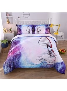 3D Surfing and Water Digital Printed Cotton 4-Piece Bedding Sets/Duvet Covers