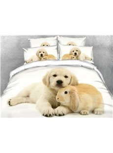 3D Puppy and Rabbit Digital Printed Cotton 4-Piece Bedding Sets/Duvet Covers