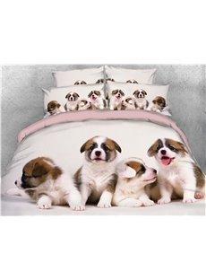 3D Four Cute Puppies Digital Printed Cotton 4-Piece Bedding Sets/Duvet Covers