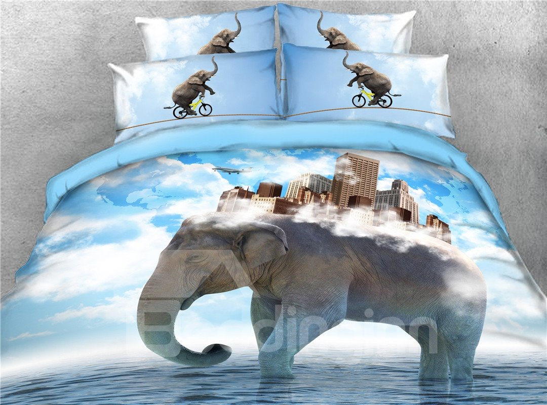 3D High Buildings on the Back of the Elephant Printed 4-Piece Bedding Sets/Duvet Covers