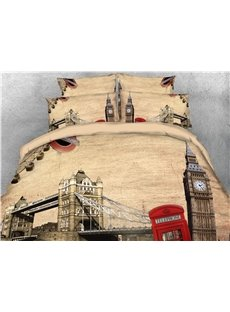 3D Big Ben and Tower Bridge Digital Printed Cotton 4-Piece Bedding Sets/Duvet Covers