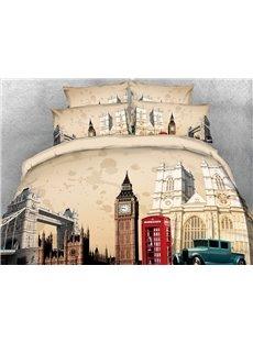 3D Tower Bridge and Castle Digital Printed Cotton 4-Piece Bedding Sets/Duvet Covers
