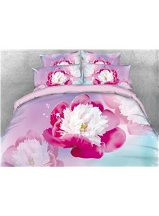3D Red and White Flower Unique Digital Printing Cotton 4-Piece Bedding Sets/Duvet Covers