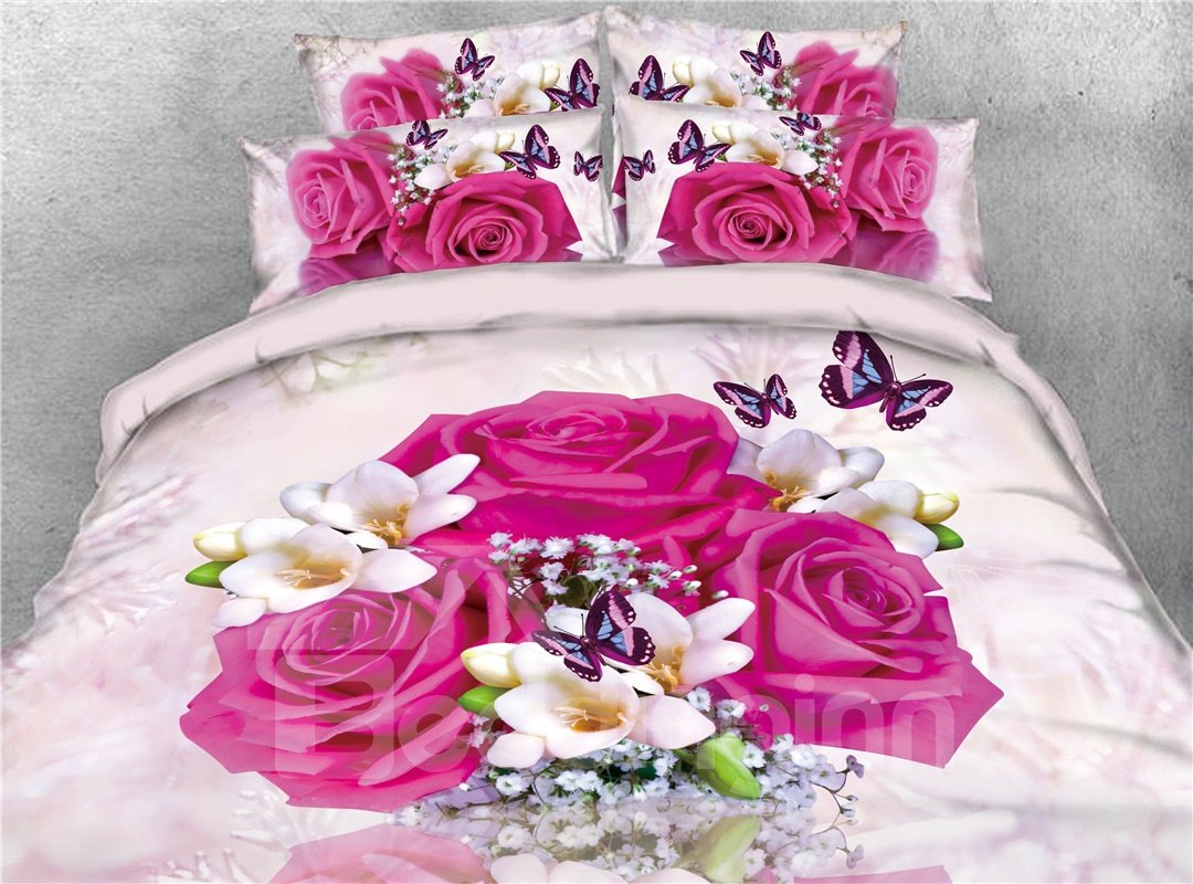 Red Rose and Butterflies Digital Printing Cotton 4-Piece 3D Bedding Sets/Duvet Covers
