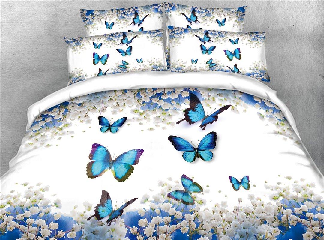 Blue Butterflies and Floral Digital Printing Cotton 3D 4-Piece Bedding Sets/Duvet Covers