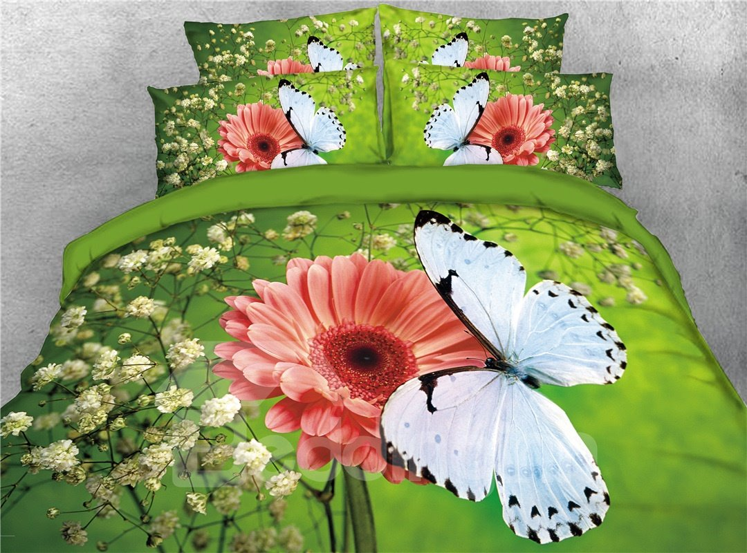 Butterfly and Daisy Green Digital Printing Cotton 4-Piece 3D Bedding Sets/Duvet Covers