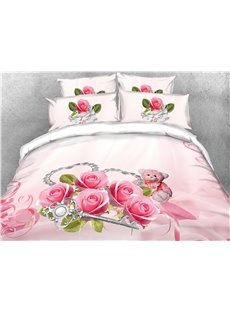 3D Blush Pink Rose and Silver Key Digital Printing Cotton 4-Piece Bedding Sets/Duvet Covers