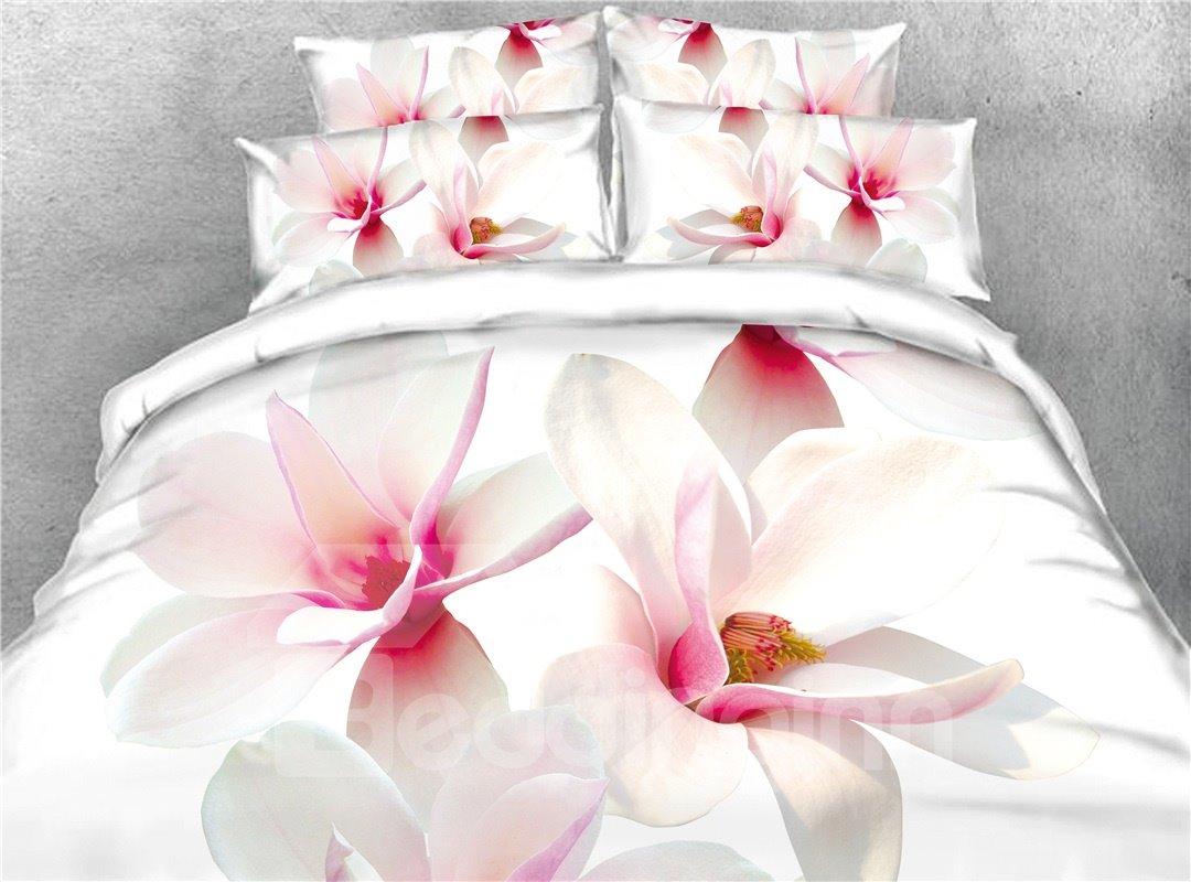 White Magnolia Digital Printing Cotton 4-Piece 3D Bedding Sets/Duvet Covers