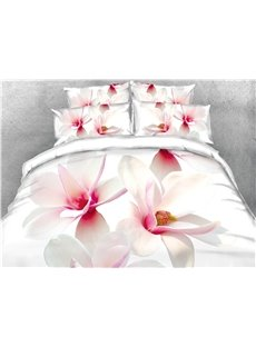 3D White Magnolia Digital Printing Cotton 4-Piece Bedding Sets/Duvet Covers