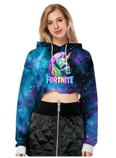 Pullover Midriff-Baring Loose Model Vivid Color 3D Painted Hoodie