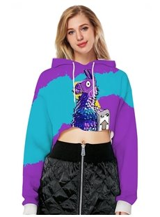 Midriff-Baring Vivid Color Loose Model Pullover 3D Painted Hoodie