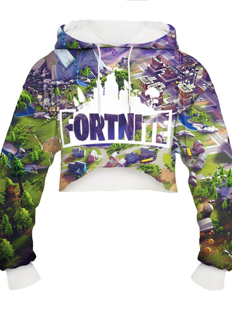 Vivid Color Midriff-Baring Loose Model Pullover 3D Painted Hoodie