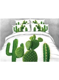 3D Giant Green Cactus Digital Printing Cotton 4-Piece Bedding Sets/Duvet Covers